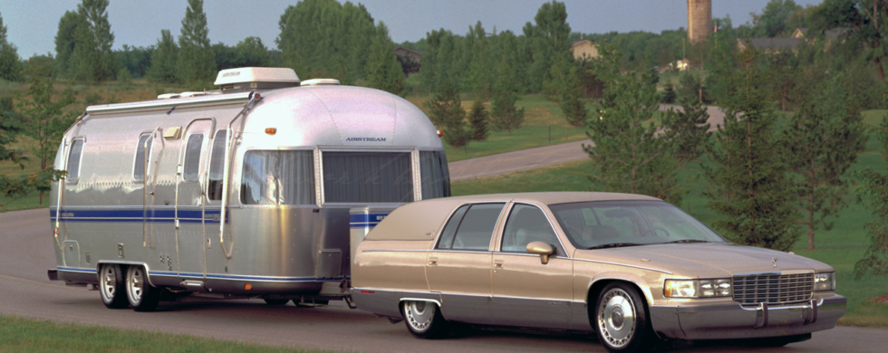 Cadillac Fleetwood Brougham with Airstream trailer | photoshop chop by Sebastian Motsch (2017)
