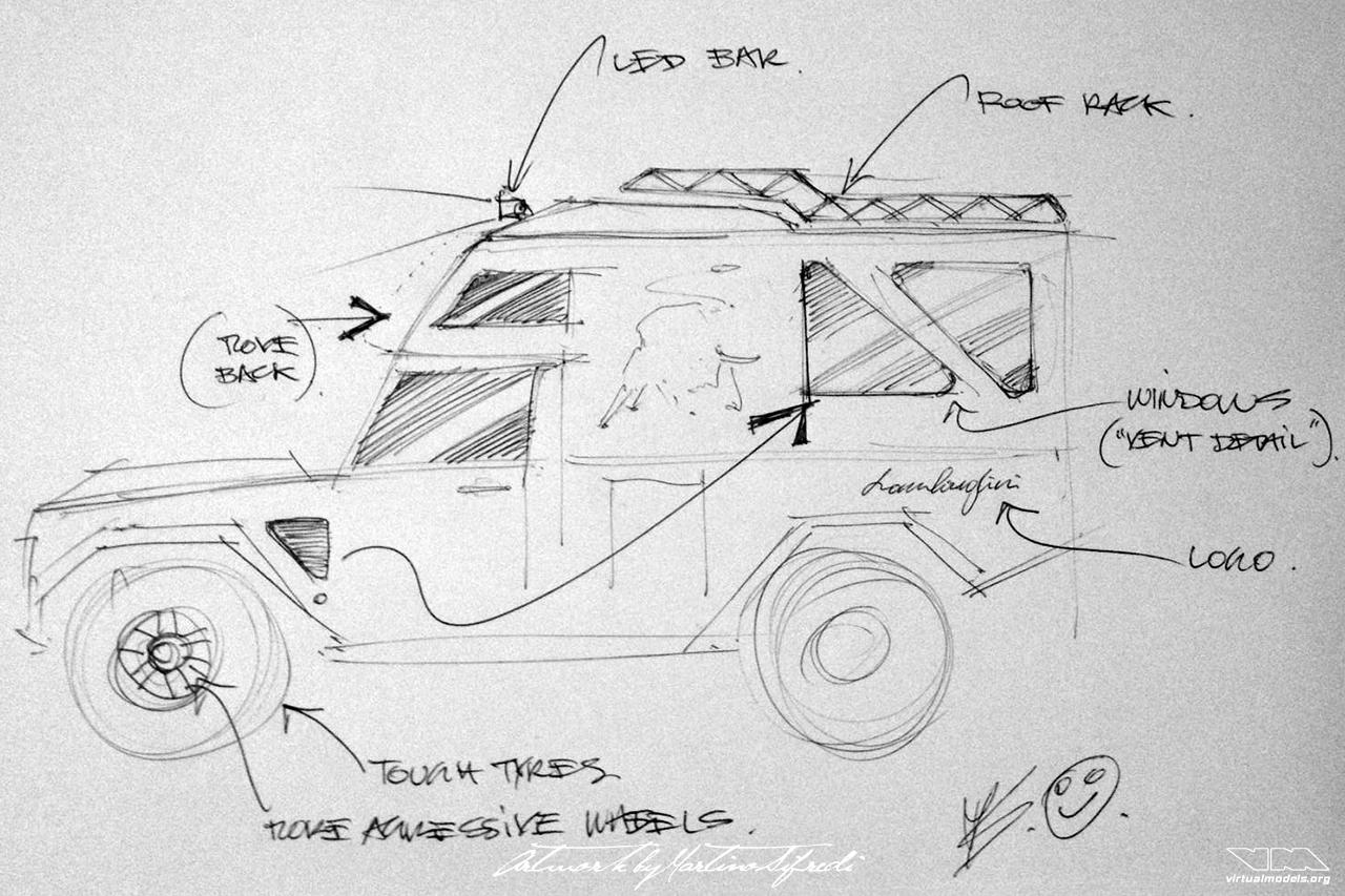 Lamborghini LM002 4x4 Camper | concept drawing by Martino Sifredi (2019)