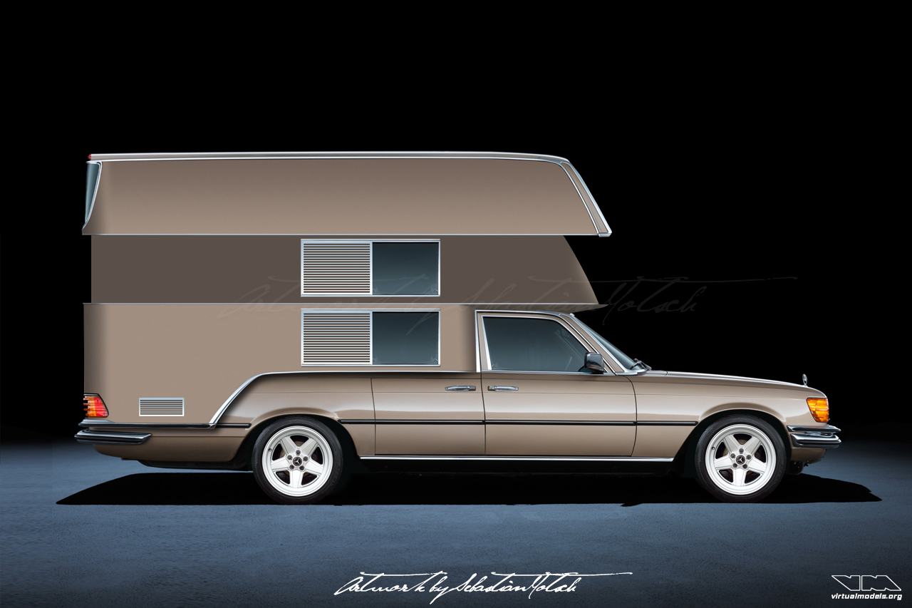Mercedes-Benz W116 S-Class Camper AMG open | photoshop chop by Sebastian Motsch (2018)