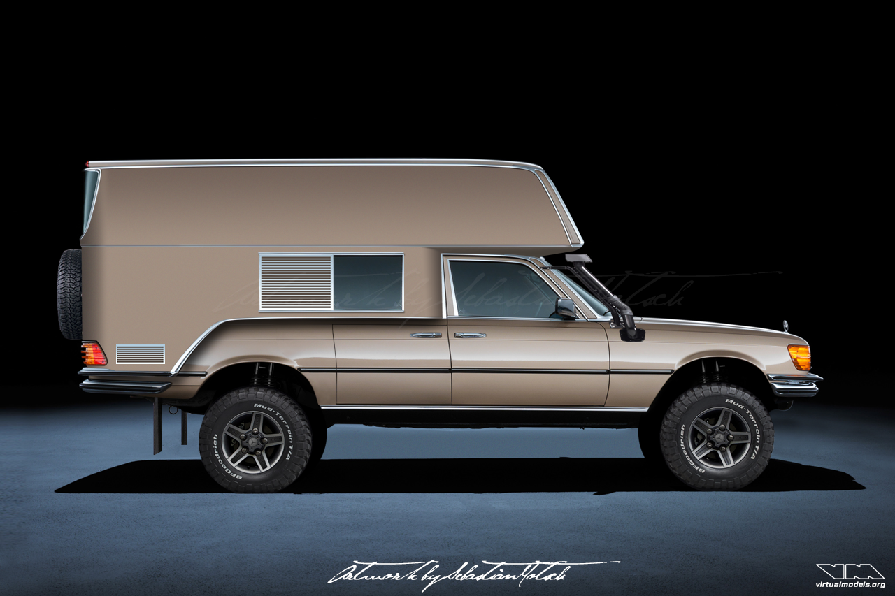 Mercedes-Benz W116 S-Class Camper G 4x4 | photoshop chop by Sebastian Motsch (2018)