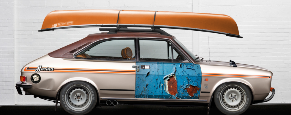 Morris Marina Coupé with Kayak ADO28 Brexit | photoshop chop by Sebastian Motsch (2018)