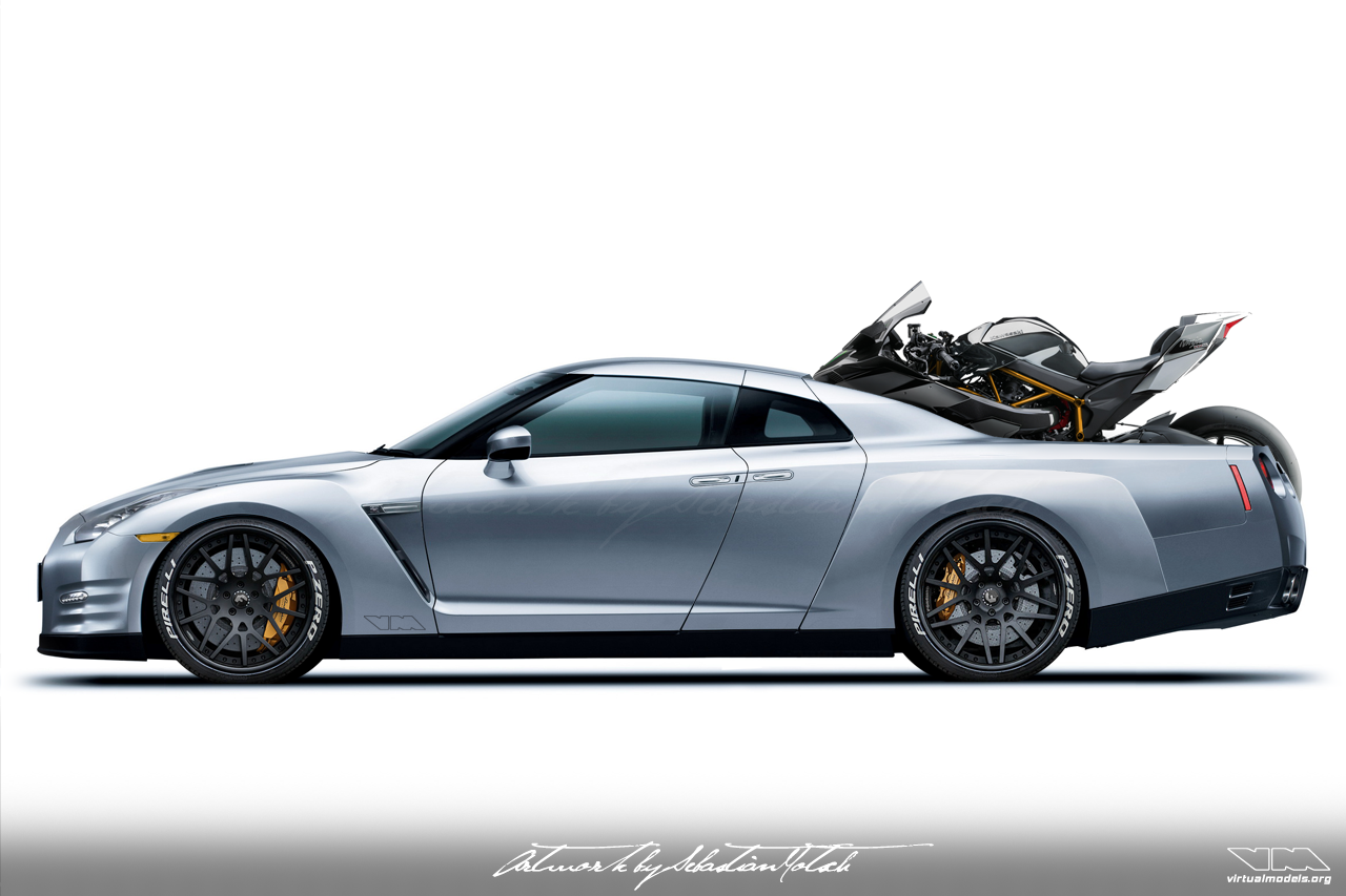 Nissan Skyline GT-R35 pick-up motorcycle transporter | photoshop chop by Sebastian Motsch (2017)
