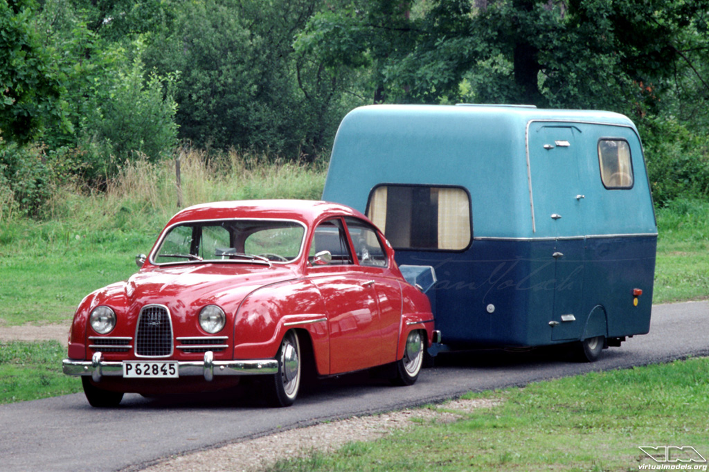 Stanced SAAB 96 with caravan | photoshop chop by Sebastian Motsch (2016)