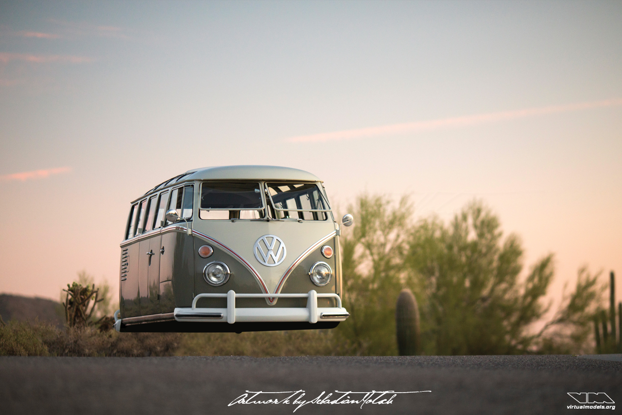 Volkswagen T1 21-Window Samba Hovercar | photoshop chop by Sebastian Motsch (2018)